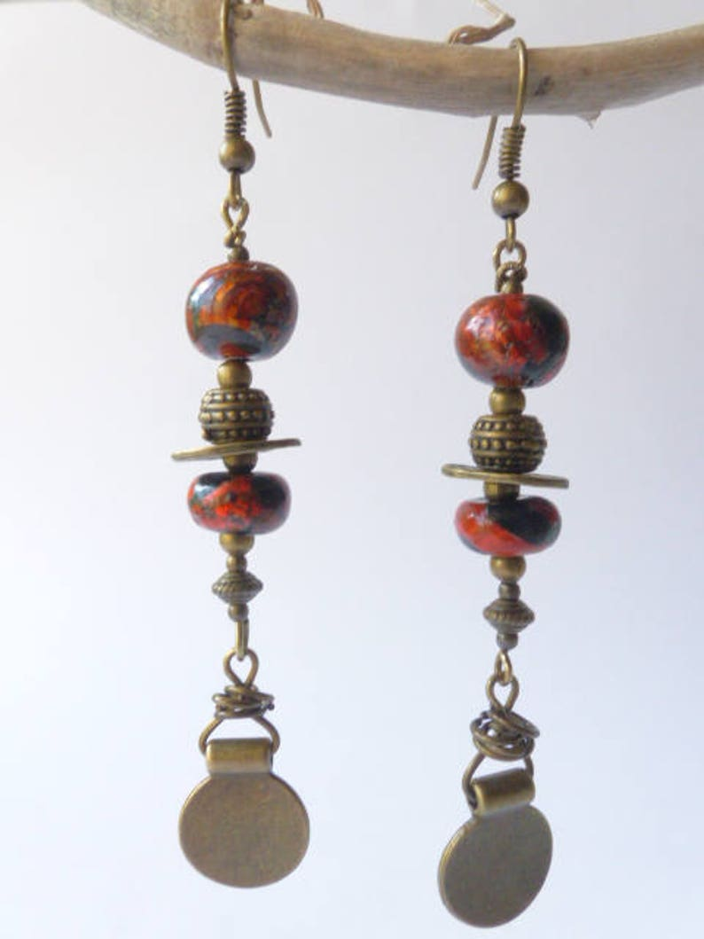 charms bronze beads ethnic black one of a kind unique gift polymer clay summer festival Long boho earrings copper orange gold hippie