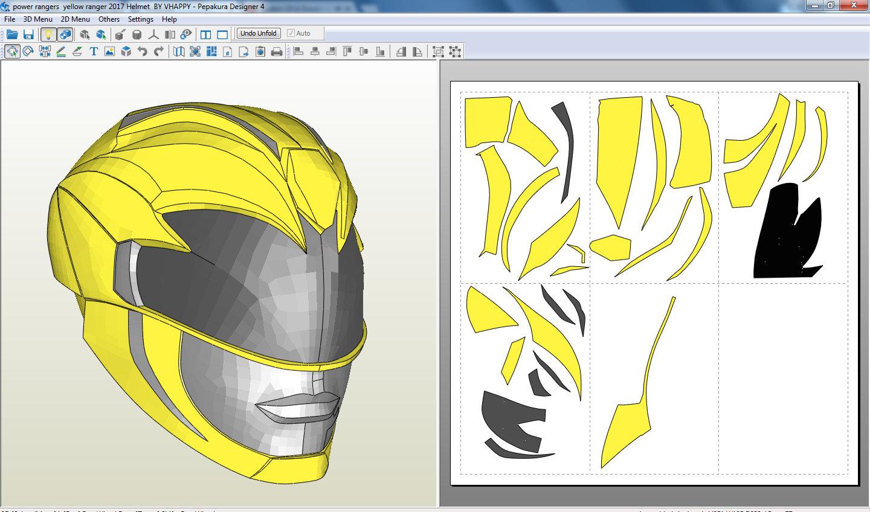 Power Rangers 2017 Yellow Ranger Helmet Pepakura Foam File | Etsy