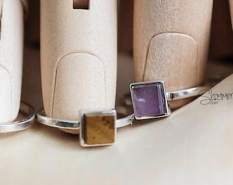 Sterling silver stone ring, Vivian ring, made in VietNam