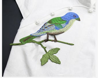 Green and Blue Bird on a Twig Embroidery Patches