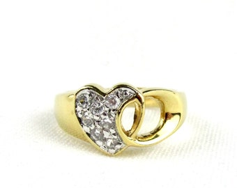 Heart plated barrel ring yellow gold and white oxides white CZ size 51