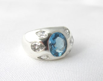Important silver ring 925 navy acute imitation and white pear-sized zirconium oxides T 55