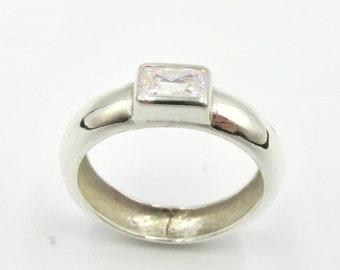 Silver ring 925 unisex large size and white rectangle stone imitation diamond size 59