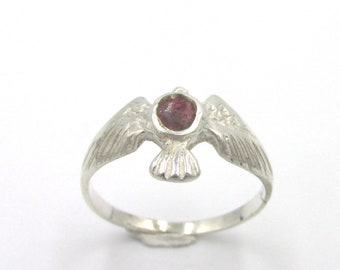 Vintage ring in silver 925 eagle oval center enamel decoration for woman or girl
