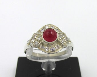 Ancient art deco ring in silver 925 synthetic rubies and white oxides T56 - 57