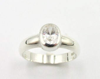 Large Solitaire ring in Silver 925 and zirconium oxide imitation diamond size 57 3/4