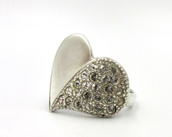 Woman ring, 925 silver girl in the shape of a smooth heart and paved with white rhinestones on the whole half T50