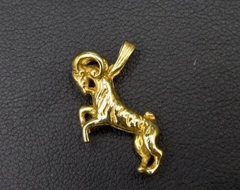 Capricorn pendant astrological sign in yellow gold plated