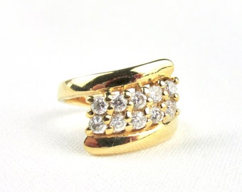 Vintage 90s plated style ring yellow gold and diamonds imitations oxides of white zirconiums T 54