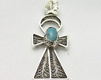 Egyptian pendant in silver head of pharaoh watermark watermark cross of turquoise cabochon life