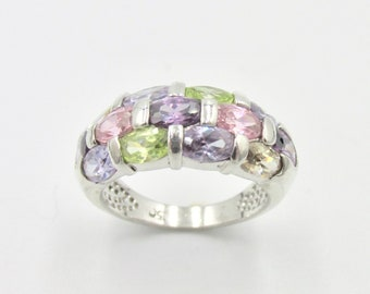 Pretty ring Tutti Frutti in Silver 925 for women stones purple pink green yellow size 50