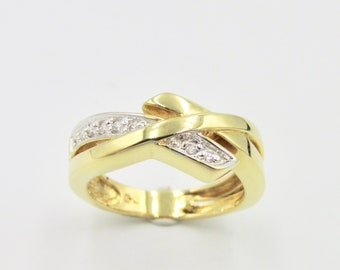 Women's ring with yellow and white gold veneer and set with zirconium oxide imitation white diamond T 49.5