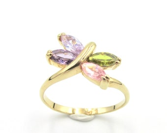 Pretty girl or woman ring in gold plated Dragonfly or butterfly and zirconium oxides in color purple pink green T 50