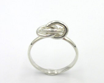 Vintage silver woman decor links interlaced ring size size 58