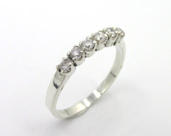 Half-wedding ring for women's 925 silver and imitation diamonds size 54