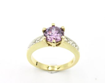 Women's ring in yellow gold-plated purple amethyst and white zirconium oxide T53, 5