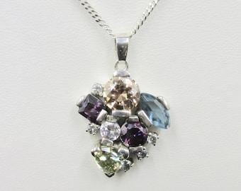 """Tutti Frutti"" necklace silver chain 952 and pendant set with several colored stones"
