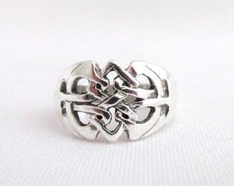 Vintage silver ring 925 Celtic interlacing T 54