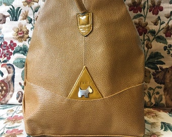 Shoulder bag Texier triangular for women in camel brown and ochre brown grained leather, dog pattern on the front