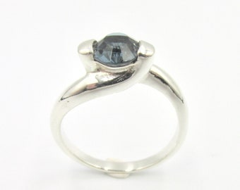Lonely blue stone ring, interlacing, for silver woman 925 Size 60