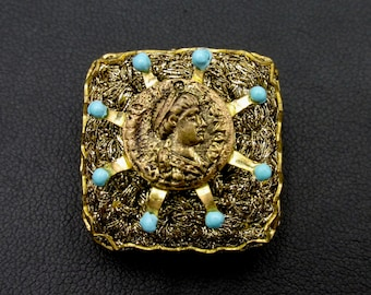 Beautiful vintage brooch signed Ornella square-shaped Roman currency gold color