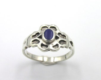 Small vintage ring in silver 925 blue enamelled center, boho style for girl or woman size 47 3/4