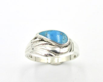 Vintage ring for silver woman 925 and turquoise shaped drop style boho hippie size 52