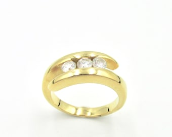 Ring women yellow gold plated trilogy zirconium oxides imitation white diamonds T 53