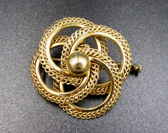 Beautiful vintage brooch 50s plated French gold signed GL interlaced rosette patterns