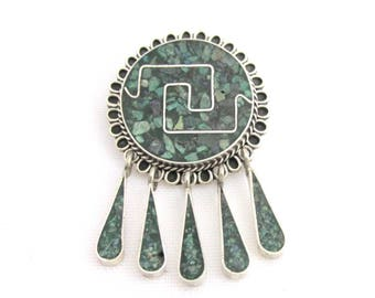 Mexico-style Aztec-style pendant brooch decorated in silver malachite 925