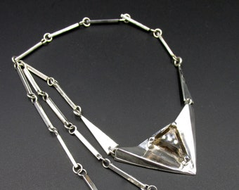 Unique piece necklace origami plastron shaped triangle in solid silver and quartz smoked triangle creation Flora Guigal