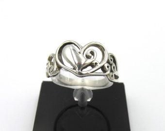 Women heart silver ring 925 scrolled openwork heart decor waist 55.5
