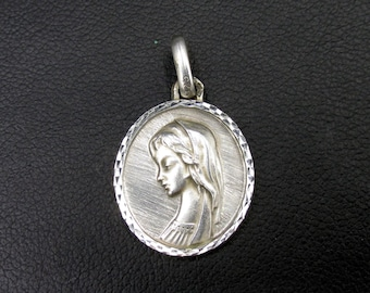 Vintage religious medal in silver 925 Virgin Mary