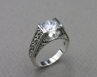 zirconium oxide Massive silver ring