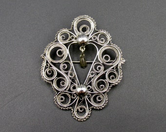 Vintage silver brooch in old Victorian style made in watermark origin Poland