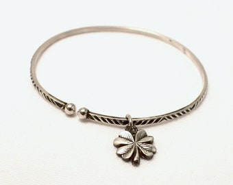 Vintage wood Bangle open silver Sterling and 4 leaf clover charm, lucky charm