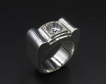 Tank ring art deco style in silver and diamond imitation cut 50
