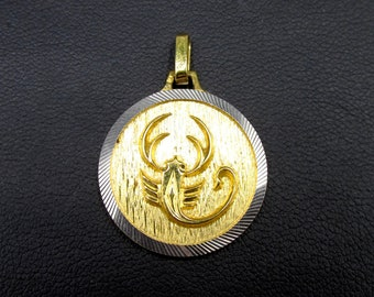 Pendant astrological sign in gold plated scorpion sign , round medal