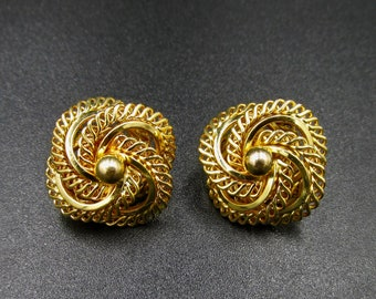 Beautiful vintage clip earrings in gold-plated gL 60s rose decoration