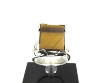925 silver women's ring and rectangular tiger eye T50