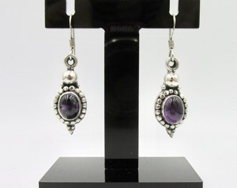 925 silver dangling earrings and oval amethysts ethnic boho style