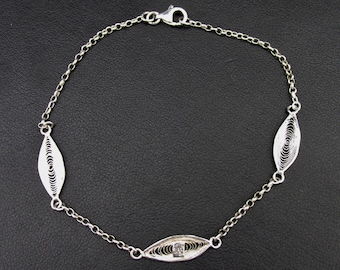 Silver women's bracelet 925 chain and oval elements made of watermark 21.5 cm