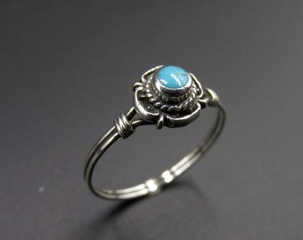 Hippie boho style ring, ethnic, silver 925 set with a turquoise cabochon size 54.5