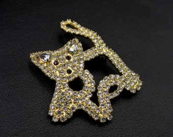 Vintage cat brooch signed Agatha gold color and set with rhinestones imitation diamond