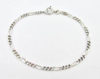 925 gourmet silver chain bracelet alternating for women 19 cm