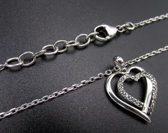 Silver necklace 925 for woman pendant interlaced hearts imitation diamonds mounted on chain convict adjustable size