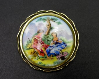French brooch vintage porcelain from Limoges country scene .