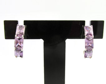 925 silver earrings and rectangle-sized synthetic amethysts