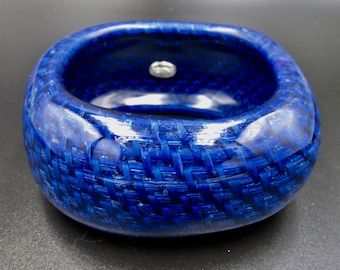 Large vintage blue plastic cuff bracelet signed Agatha woven rope made in resin square shape