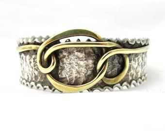 Vintage bracelet cuff handmade brutalist sterling silver and hammered bronze wire signed Bruno Herpin
